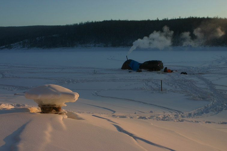 Alt-Bureya reservoir Siberia ice-fishing