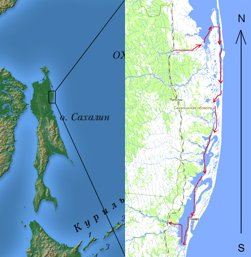 Alt-Sakhalin Island Piltun Bay Chaivo Bay map