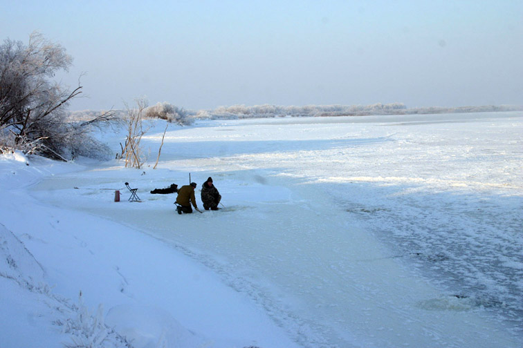Alt-Amur River-fall iceflood-icefishing-Amur pike-spotted Amur barbel-hoarfrost
